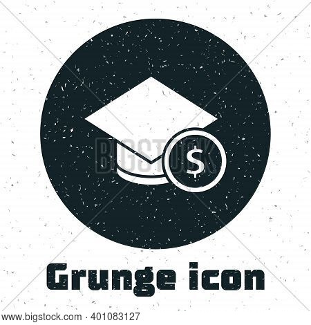 Grunge Graduation Cap And Coin Icon Isolated On White Background. Education And Money. Concept Of Sc