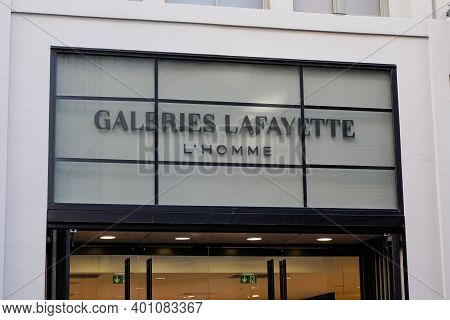 Bordeaux , Aquitaine  France - 12 25 2020 : Galeries Lafayette Logo Brand And Text Sign Upmarket Fre