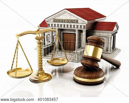 Courthouse Isolated On White Background. 3d Illustration.