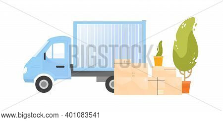 Truck Near A Pile Of Cardboard Boxes With Belongings And Houseplants Vector Flat Illustration. Cargo