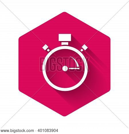 White Stopwatch Icon Isolated With Long Shadow. Time Timer Sign. Chronometer Sign. Pink Hexagon Butt