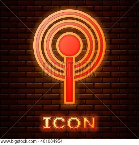 Glowing Neon Antenna Icon Isolated On Brick Wall Background. Radio Antenna Wireless. Technology And