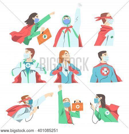 Doctors Superheroes Wearing Waving Capes And Medical Masks Set, Confident Doctors Fighting Against V