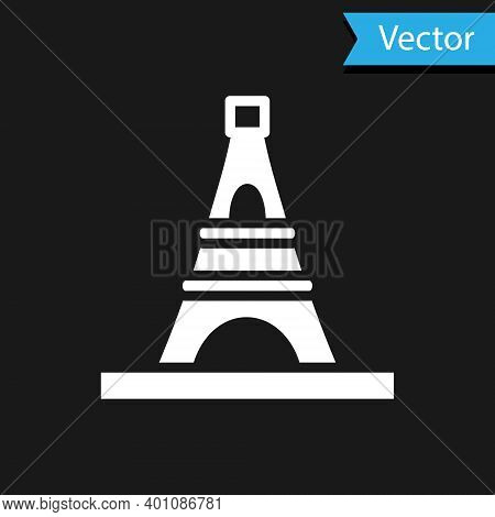 White Eiffel Tower Icon Isolated On Black Background. France Paris Landmark Symbol. Vector