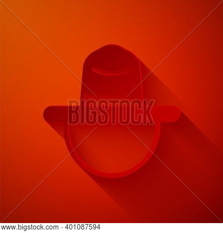 Paper Cut Canadian Ranger Hat Uniform Icon Isolated On Red Background. Paper Art Style. Vector