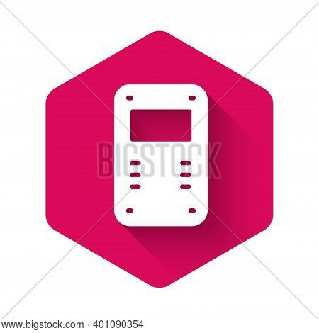 White Police Assault Shield Icon Isolated With Long Shadow. Pink Hexagon Button. Vector