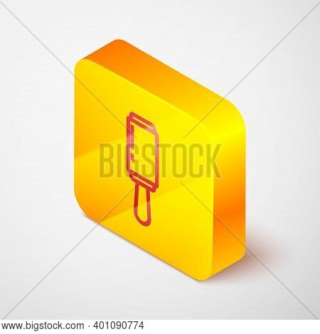 Isometric Line Adhesive Roller For Cleaning Clothes Icon Isolated On Grey Background. Getting Rid Of