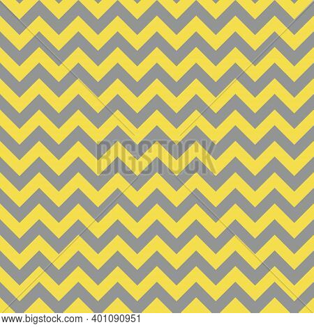 Seamless Gray And Yellow Zigzag Pattern, Vector Illustration. Chevron Zigzag Pattern With Yellow Lin