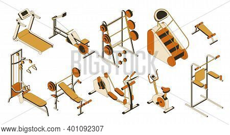 Gym And Fitness Club Equipment Collection. Isometric Set Of Training Apparatus