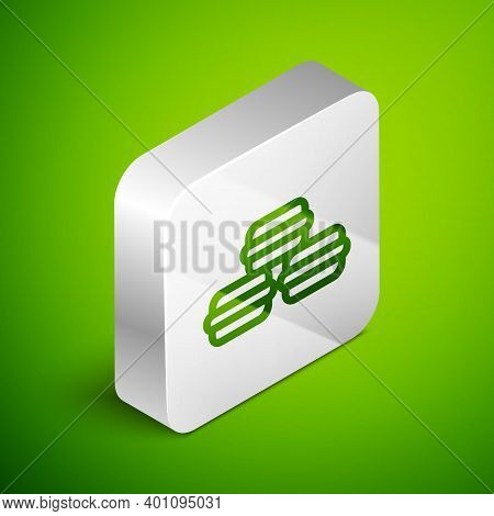 Isometric Line Macaron Cookie Icon Isolated On Green Background. Macaroon Sweet Bakery. Silver Squar