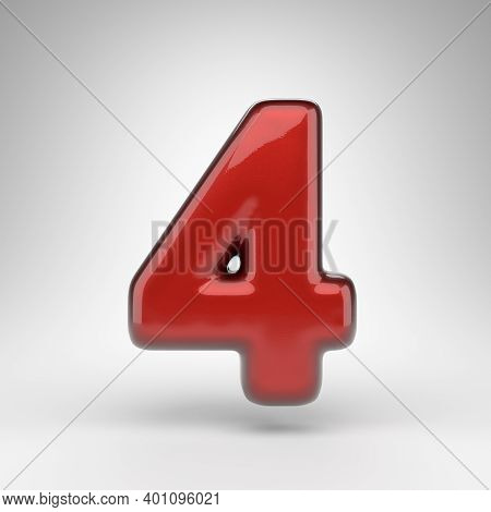Number 4 On White Background. Red Car Paint 3d Rendered Number With Glossy Metallic Surface.