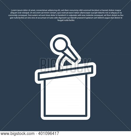 Blue Line Stage Stand Or Debate Podium Rostrum Icon Isolated On Blue Background. Conference Speech T