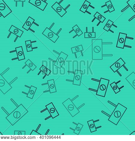 Black Line Protest Icon Isolated Seamless Pattern On Green Background. Meeting, Protester, Picket, S
