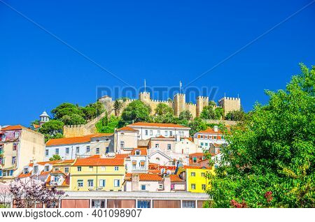 Sao Jorge Castle Medieval Building On Hill And Colorful Multicolored Traditional Houses In Lisbon Li