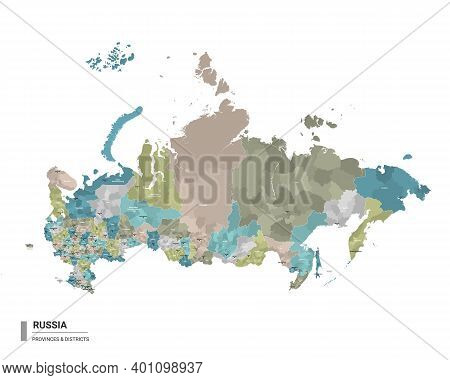 Russia Higt Detailed Map With Subdivisions. Administrative Map Of Russia With Districts And Cities N