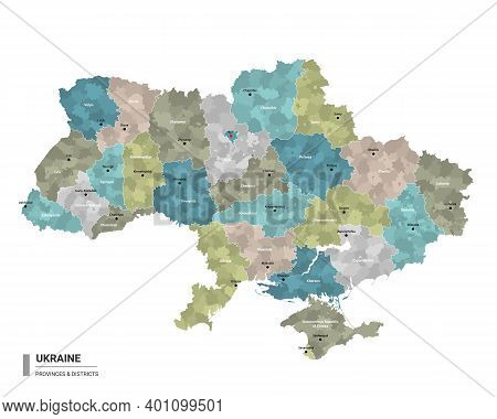 Ukraine Higt Detailed Map With Subdivisions. Administrative Map Of Ukraine With Districts And Cities