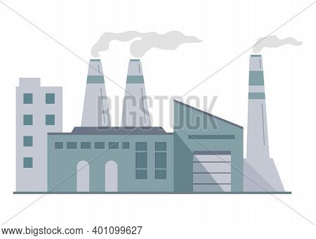 Factory Building Facade. Flat Vector.industrial Works With Pipes.