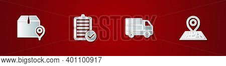 Set Location With Cardboard Box, Verification Of Delivery List, Delivery Truck Boxes And Placeholder