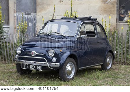 Lamorlaye, France - July 05 2020: The Fiat 500 Is A Small City Car That Was Manufactured And Markete
