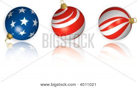 3D Us Flag Christmas Bulbs With Reflection