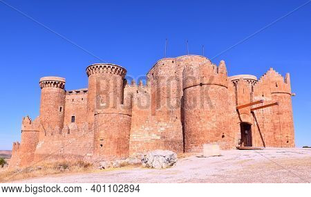 Belmonte Castle In Sunny Day And Intense Blue Sky.