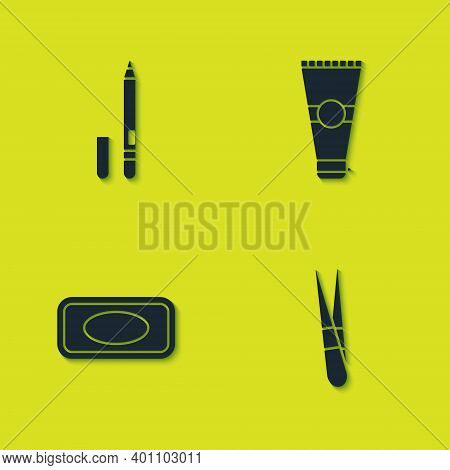 Set Eyeliner, Eyebrow, Eyebrow Tweezers, Bar Of Soap And Lotion Cosmetic Tube Icon. Vector