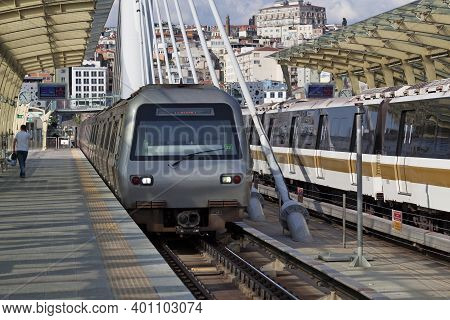 Istanbul, Turkey - May 10 2019: Train At The Haliç Station Of The M2 Line Of The Istanbul Metro. The