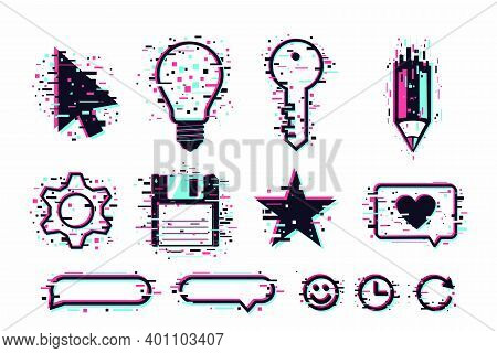 Web Icons Set. User Interface Symbols, Glitch Style. Gui Elements Isolated On White. Vector Clipart