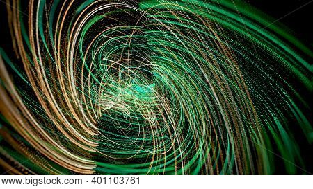 Star Trails In Outer Space In Seamless Loop Motion. Animation. Abstract Digital Meteor Shower Circli