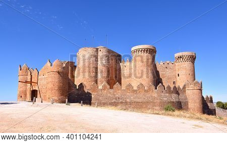 Side View Of The Castle Of Belmonte A Sunny Day.