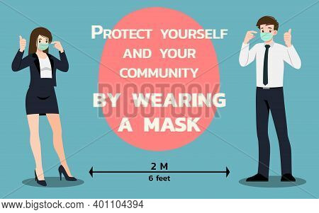Businessman And Businesswoman Who Wear Surgical Mask Show And Prove That They Were Safe In Public. S