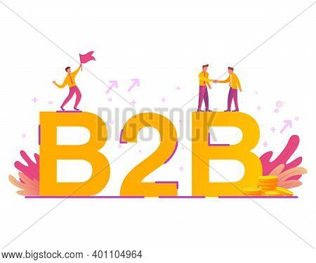 B2b.business-to-business. Communication Marketing. Vector Flat Illustration. Money Gold Coins.
