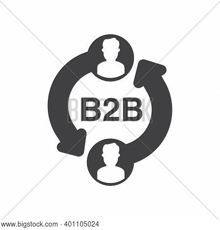 B2b Icon Black Silhouette Isolated On White Background.