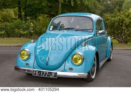 Lamorlaye, France - July 05 2020: The Volkswagen Beetle Was Manufactured And Marketed By German Auto