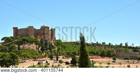 Castle Of Belmonte With Siege Weapons Outside And Windmill Photographed From The Town.