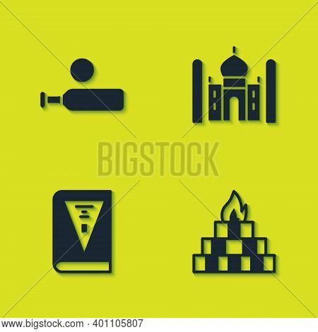 Set Wood Cricket Bat And Ball, Yagna, India Constitution Day And Taj Mahal Icon. Vector