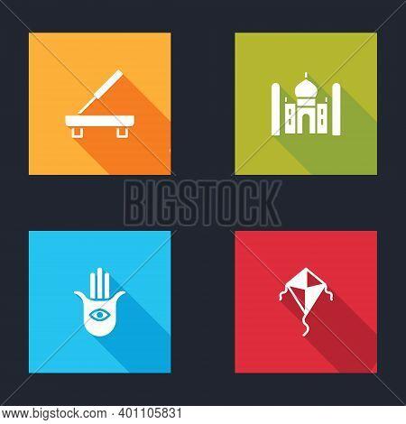 Set Scented Spa Stick, Taj Mahal, Hamsa Hand And Kite Icon. Vector