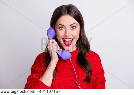 Photo Portrait Of Happy Surprised Woman Talking Keeping Violet Landline Of Telephone Isolated On Pas