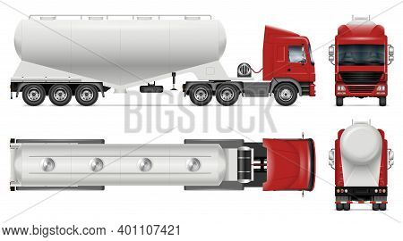 Dry Bulk Tanker Trailer Truck Vector Mockup On White For Vehicle Branding, Corporate Identity. View