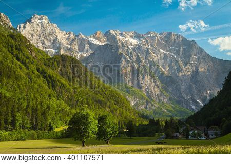 Majestic Summer Alpine Scenery, Green Meadows And High Snowy Mountains, Logar Valley (logarska Dolin