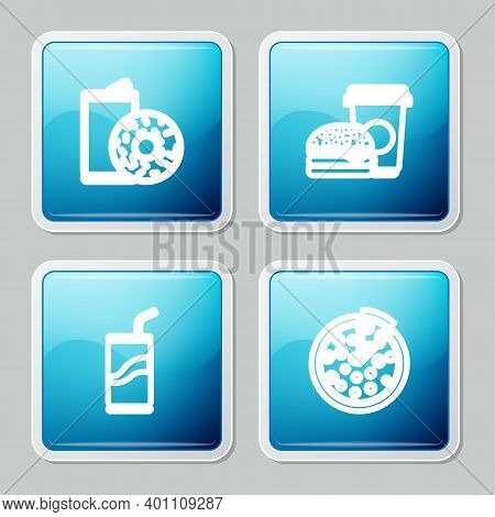 Set Line Aluminum Can Soda And Donut, Coffee Burger, Soda With Drinking Straw And Pizza Icon. Vector