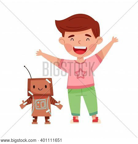 Excited Boy With Handcrafted Cardboard Robot Vector Illustration