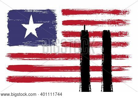 Always Remember 9 11. Illustration of the USA or american flag with the twin towers. Remembering Patriot day, memorial day. We will never forget, the terrorist attacks of september 11