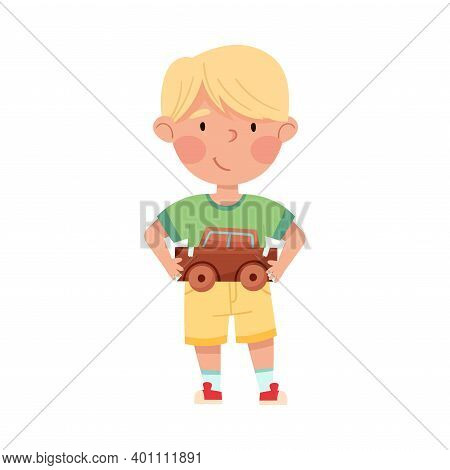 Smiling Boy Artist With Handcrafted Cardboard Car Vector Illustration