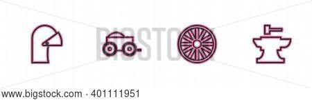 Set Line Medieval Iron Helmet, Old Wooden Wheel, Wooden Four-wheel Cart And Anvil For Blacksmithing