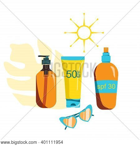 Sunscreen Gel, Sunblock Spray, Tanning Oil And Glasses. Prevention Of Aging And Skin Cancer For Kids