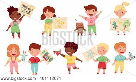Kids Artist Showing Their Handcrafted Item And Drawing Vector Set