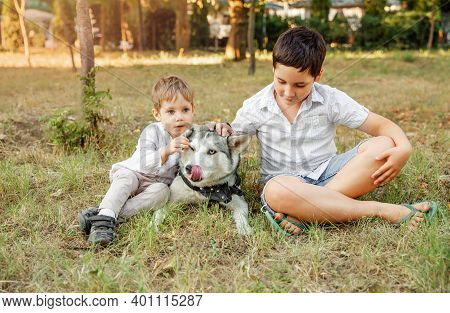 Kids And A Pet On A Summer Meadow. Boys Lovingly Embraces His Pet Dog. Family Playing With Dog In Pa