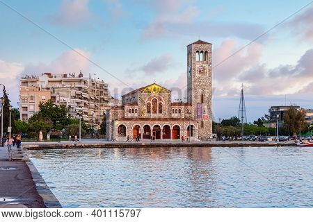 Volos, Greece - May 02, 2019: Church Of Saints Constantine And Helen At The Seafront In Volos. Volos