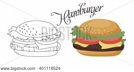 Hamburger With Cutlet, Tomatoes, Cheese And Fresh Salad.vector Color Illustration And Burger Sketch